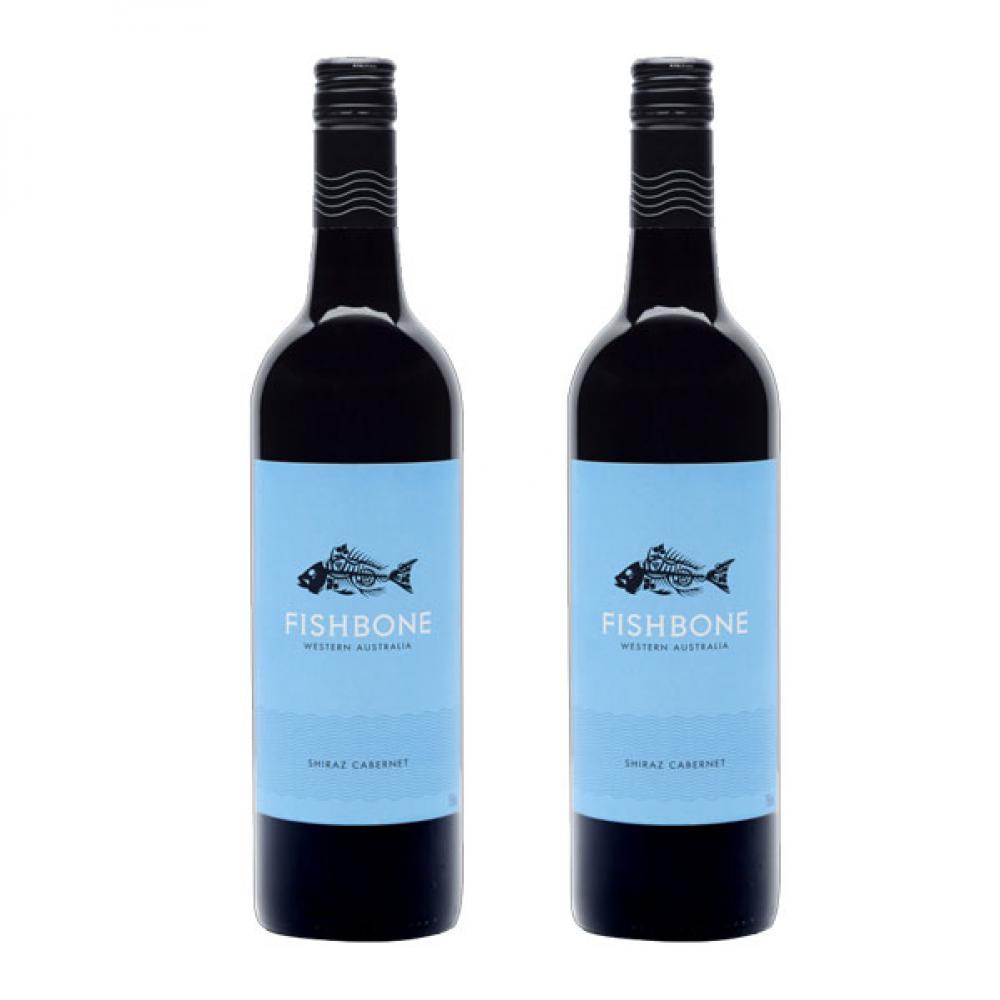 【国内现货】 Fishbone 鱼骨设拉子赤霞珠2018混酿干红葡萄酒红酒*2瓶装