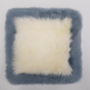 Auskin 长羊毛皮 坐垫 象牙白 & 深色边框
